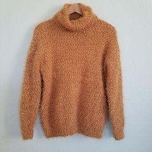 Forever 21 Mustard Fuzzy Turtleneck Sweater Small